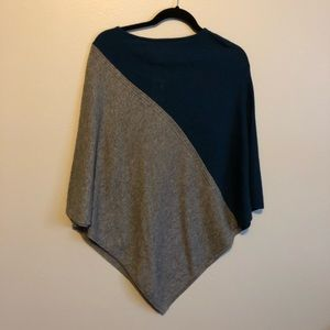 Sweaters - NWT Grey & Peacock Blue Poncho